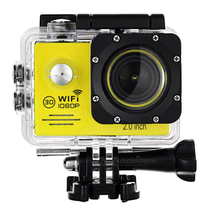 12MP Wide Angle 1080P Sports Camera DV w/ 2.0, TF, Wi-Fi - YellowSport Cameras<br>Form  ColorYellow + Gun BlackShade Of ColorYellowMaterialTempered glass + ABSQuantity1 DX.PCM.Model.AttributeModel.UnitImage SensorCMOSAnti-ShakeYesFocal Distance0 DX.PCM.Model.AttributeModel.UnitFocusing Range0~infiniteWide Angle170 degreeEffective Pixels12MPImagesJPGStill Image Resolution12M / 8M / 5MVideoMOV,WMV,Others,H.264Video Resolution1080p(1920 x 1080)30fps, 720P(1280 x 720)60 fps, VGA(848 x 480)60FPS, QVGA(640 x 480) 60FPSVideo Frame Rate30,60Cycle RecordYesISOOthers,Auto / 100 / 200 / 400Exposure CompensationOthers,-2, -1.7, -1.3, -1, -0.7, -0.3, 0, +0.3, +0.7, +1, +1.3, +1.7, +2White Balance ModeOthers,Auto / sunshine / cloudy / osram lamp / fluorescent lampSupports Card TypeTFSupports Max. Capacity32 DX.PCM.Model.AttributeModel.UnitOutput InterfaceMicro USB,Micro HDMILCD ScreenYesScreen TypeOthers,LTPSScreen Size2.0 DX.PCM.Model.AttributeModel.UnitScreen Resolution960 x 240Battery Measured Capacity 900 DX.PCM.Model.AttributeModel.UnitNominal Capacity900 DX.PCM.Model.AttributeModel.UnitBattery TypeLi-ion batteryBattery included or notYesBattery Quantity1 DX.PCM.Model.AttributeModel.UnitVoltage3.7 DX.PCM.Model.AttributeModel.UnitWater ResistantWater Resistant 3 ATM or 30 m. Suitable for everyday use. Splash/rain resistant. Not suitable for showering, bathing, swimming, snorkelling, water related work and fishing.Supported LanguagesEnglish,Simplified Chinese,Traditional Chinese,Russian,Portuguese,Spanish,Italian,Korean,French,German,Others,Polish, Japanese, SlovakPacking List1 x Camera1 x Waterproof case2 x Helmet holders1 x Waterproof cover1 x 100~240V EU plug adapter1 x USB cable (80±2cm)2 x Adhesive tapes1 x Buckle cord4 x Cable ties1 x Cleaning cloth2 x Bandages2 x Velcro tapes1 x Bike holder1 x J-shaped base1 x GoPro adapter1 x Digital camera adapter3 x Adapters1 x Back clip1 x Clip mount1 x Chinese / English user manual<br>