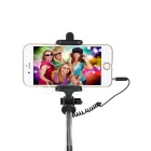 Selfie Monopod Holder w/ 3.5mm Audio Cable for 5.5~8cm Phone - Black