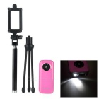 "Retractable Selfie Monopod + Tripod + ""5600mAh"" Power Bank Set w/ LED Light - Black + Pink"