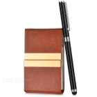 Flip-Open Magnetic PU Name Cards Holder + Capacitive Screen Touch Pen Stylus Set - Brown + Black