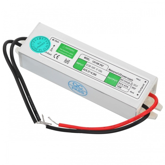 AC 100~240V to DC 12V 10W Waterproof LED Power Driver for G4 / G9 BulbLED Power Drivers<br>MaterialAluminum alloy + electronic componentsForm  ColorSilver + White + Multi-ColoredQuantity1 pieceWater-proofIP67Input Voltage100~240 VOutput VoltageDC 12 VWorking Temperature-20~70 ?Output Current0~0.83 AInput Current0.37~0.26 ARated Working Voltage110~260 VWorking Current0~0.83 ADimmerSwitching power supplyCertificationCE, RoHSPacking List1 x LED power driver (cable: 10+/-2cm / 8+/-2cm)<br>