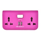 Dual-Port USB EU Plug Adapter Charger w/ 2 x Power Sockets for Cellphone / Tablet PC - Dark Purple