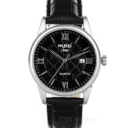 Mpai 1982 Casual Waterproof Leather Wristband Quartz Analog Watch for Men - Black (1 x SR626)