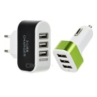 Cwxuan Universal 5V USB 2.0 3-Port EU Plug Power Charger + USB 3-Port Car Charger - Black + White