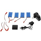 X4A-B03 4-730mAh Batteries + 1-to-4 Charger + More Set - Blue + Red