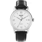Mpai Casual Waterproof Leather Wristband Quartz Analog Watch for Men - Black + White (1 x SR626)
