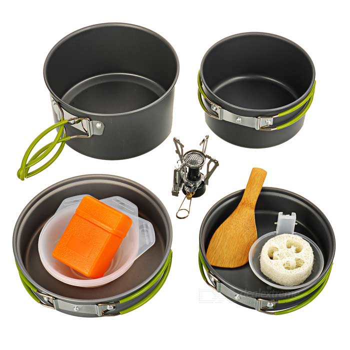 DS-301 Cooking Pots Pans + Burner Stove Set for 2~3 Person - BlackForm ColorAsh BlackModelDS-301Quantity1 DX.PCM.Model.AttributeModel.UnitMaterialHard aluminaBest UseFamily &amp; car camping,Camping,Mountaineering,CyclingStove TypeMini stoveTypeCooking Utensils,Camp Stoves,Pots &amp; PansPacking List1 x Large pan (165 x 47mm)1 x Small pan (143 x 41mm)1 x Large pot (163 x 92mm)1 x Small pot (140 x 80mm)1 x Mini stove3 x Plastic bowls1 x Spoon1 x Rice spoon1 x Cleaner1 x Pouch<br>