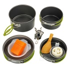 DS-301 Portable Outdoor Camping Cooking Pots Pans + Mini Burner Stove Set for 2~3 Person