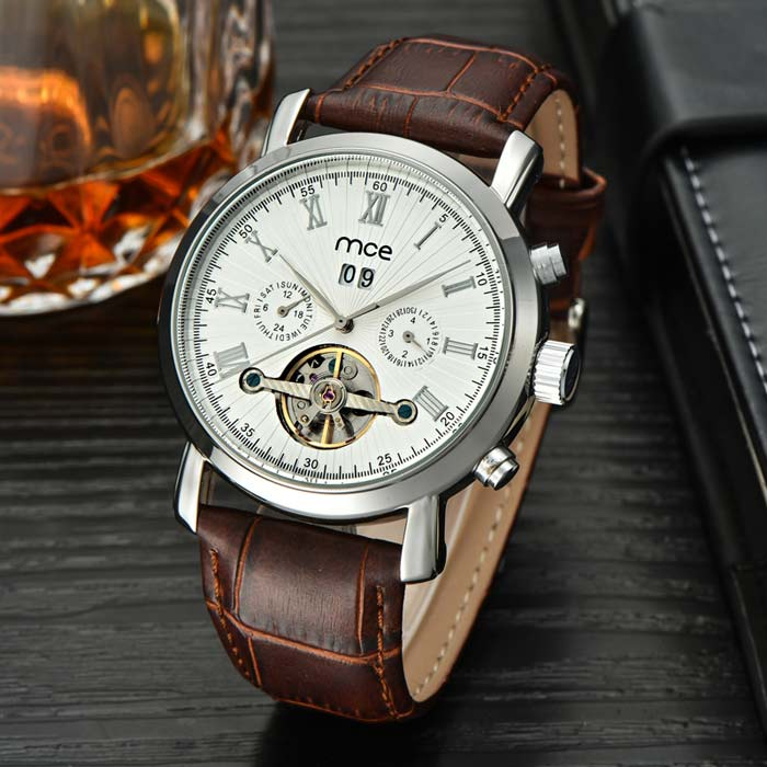 MCE Stylish PU Band Analog Mechanical Wrist Watch - Brown + White