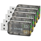 USB 2.0 Virtual 5.1 Channel Sound Card Adapters w/ 3.5mm Audio Jack - Translucent Black (5 PCS)