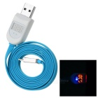 USB 2.0 / Micro 5pin Flat Charging / Current Voltage Test Cable for Phones - Light Blue + White (1m)