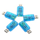 USB 2.0 Virtual 5.1 Channel Sound Card Adapters w/ 3.5mm Audio Jack - Light Blue (5 PCS)