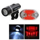 Bicycle Bike 2-Mode White 5-LED Front Lamp + 5-Mode Red 9-LED Tail Lamp Set (4 x AAA)