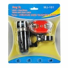 Bike 2-Mode 5-LED Front Lamp + 5-Mode Red 9-LED Tail Lamp Set - Black