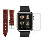 PUDINI Bamboo Pattern Split Leather Watch Band + Screen Protector for 38mm APPLE WATCH - Deep Coffee