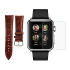 PUDINI Bamboo Pattern Split Leather Watch Band + Screen Protector for 42mm APPLE WATCH - Deep Brown