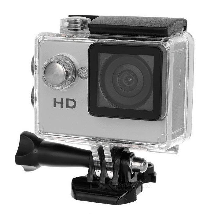 "waterproof 2,0"" LCD-0.3MP 720P sport camera w / TF - zilver + zwart"