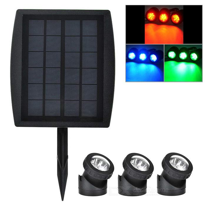 3W Waterproof Solar Powered RGB Spotlight LED / Jardim - Preto