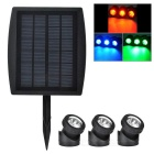3W Waterproof Solar Powered RGB LED Spotlight / Pool Lawn Garden Decorative Lamp Light - Black