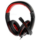 SENICC 3.5mm Plug Wired Headband Headphone w/ Mic / Remote - Black + Red