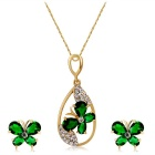 Green Butterfly & Water Drop Design Crystal Pendant Necklace for Women - Golden