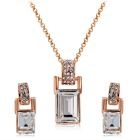 Xinguang Barrel Shaped Crystal Inlaid Pendant Necklace - Rose Golden