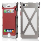 ARMOR KING Sport Aluminum Alloy Full Body Case w/ Dual View Windows for IPHONE 5 / 5S - Silver + Red