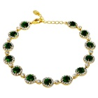 Xinguang Rhinestone-studded Green Crystals Inlaid Bracelet - Golden