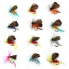 Bionic Butterfly Insect Style Fishing Gear Bait Hooks - Brown + Multicolor (12 PCS)