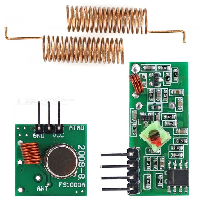 RF Transmitter Receiver Module 433MHz Wireless Link Kit for ArduinoTransmitters &amp; Receivers Module<br>Form ColorArmy Green + BrownModelN/AQuantity1 DX.PCM.Model.AttributeModel.UnitMaterialPCB + alloyFrequency433MHzWorking Voltage   5 DX.PCM.Model.AttributeModel.UnitWorking Current4 DX.PCM.Model.AttributeModel.UnitEnglish Manual / SpecYesDownload Link   http://pan.baidu.com/s/1o667XUEPacking List1 x 433MHz RF transmitter module1 x 433MHz RF receiver module2 x 433MHz spring antennas (2.7cm)<br>