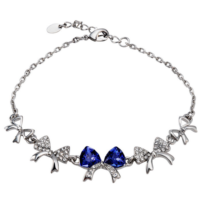Fashion Bowknot Style Crystal Bracelet for Women - Silver