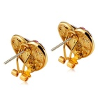 Heart Shaped Earring Set for Women - Gold + Multicolor (Pair)