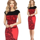 Retro Chinese Style Stitching Slim High Elasticity Evening Dress - Red + Black (XL)