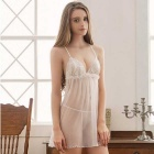 Women's Sexy Lace Babydoll Lingerie Nightdress - White