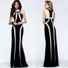Women's Fashion Sexy Mixed Colors Halter Slim Evening Dress - Black + White (XL)