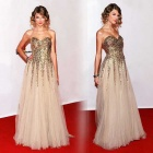 Fashion Sexy Strapless Sequined Long Blending Wedding Dress - Golden (Size XL)