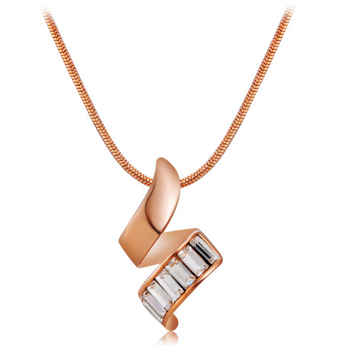 Xinguang Twisted kristallen ingelegde hanger ketting - Rose Gold
