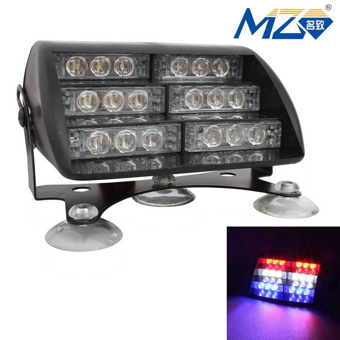 MZ Universal 30W LED Red + White + Blue Car Flashing Warning Lamp