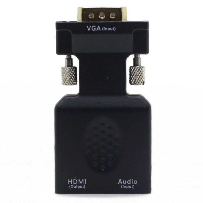 finesource 1080P VGA HDMI m-f videosovitin w / mini USB - musta