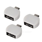 Micro USB Male to USB Female OTG Adapters for Android Smart Phone / MID - White (3PCS)