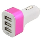 QC 2.0 Quick Charge Car Cigarette Powered 3-Port USB Car Adapter Charger - White + Deep Pink