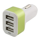 QC 2.0 Quick Charge Car Cigarette Powered 3-Port USB Car Adapter Charger - White + Light Green