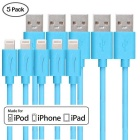 Yellowknife MFI Certified 8-Pin USB Data Sync & Charging Cable for IPHONE / IPAD - Blue (2m / 5pcs)