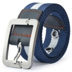 Striped Quick-Dry Nylon + Leather Webbing Belt w/ Zinc Alloy Pin Buckle - Blue + White (110cm)