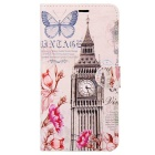 ENKAY Big Ben Pattern Protective PU Case w/ Card Slots for Samsung Galaxy Note 5 - Pink + Multicolor