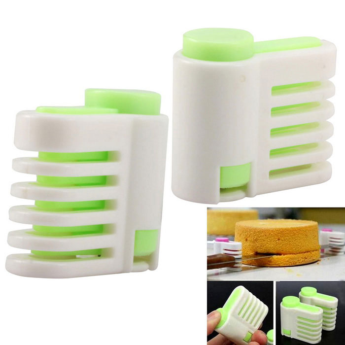Cake Layer Slicers Cutters Baking Tools - Green + White (2 PCS)Kitchen Gadgets<br>Form ColorGreen + WhiteMaterialABS + stainless steelQuantity2 DX.PCM.Model.AttributeModel.UnitPacking List2 x Cake slicers<br>