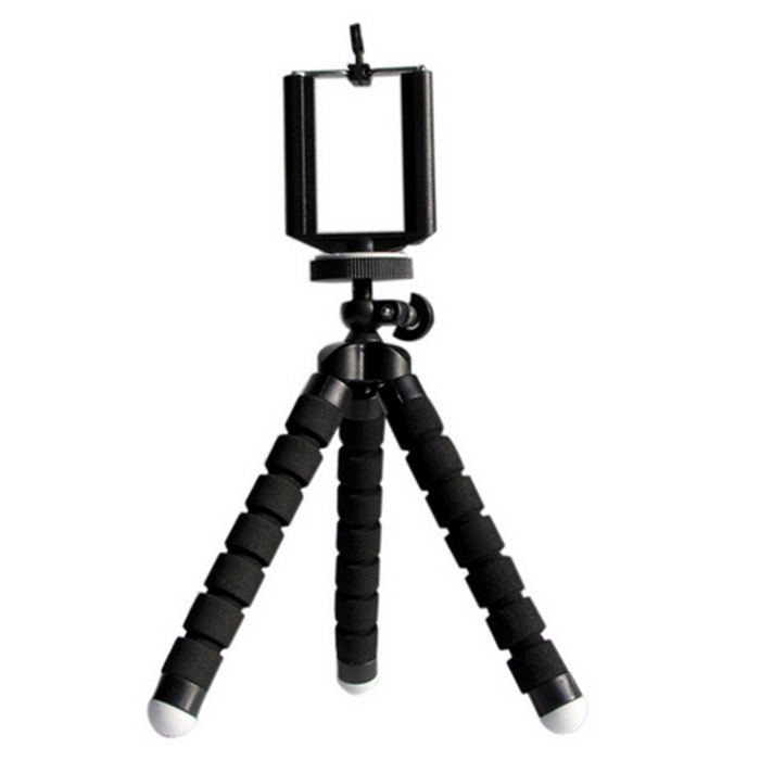 Octopus Style Tripod w/ Mount Holder Clip for Cameras, Phones - Black