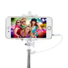 Selfie Monopod w/ Mirror, 3.5mm Audio Cable for 5.5~8.5cm Phone - Grey