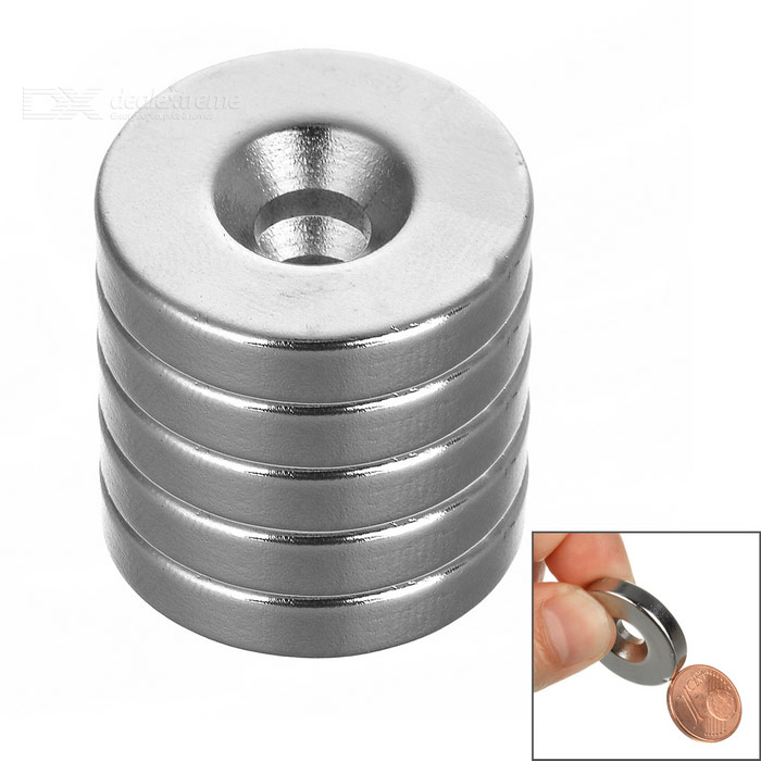 25*5mm Round NdFeB Magnet w/ Hole - Silver (5PCS)Magnets Gadgets<br>Form ColorSilverMaterialNdFeBQuantity1 SetNumber5Suitable Age GrownupsOther FeaturesHole diameter: 0.6cmPacking List5 x Magnets<br>