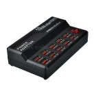5V 12A USB 2.0 10-Port Hurtiglade Smart Charger - Svart (US Plugger)